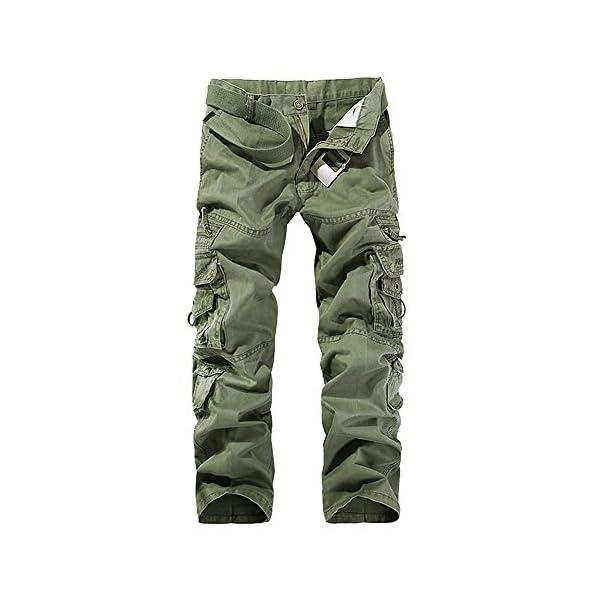 OEAK Pantalon de Travail Homme Cargo Chino Vintage Pantalon Randonnée Militaire Casual Durables avec Multi Poches en…