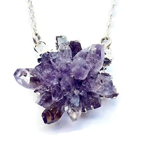 Amazon.com: Raw amethyst geode and sterling silver pendant
