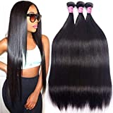 Mink 8A Brazilian Virgin Hair Straight Remy Human Hair 3 Bundles Deals 12' 14' 16' Unprocessed Brazilian Straight Hair Extensions Natural Color Weave Bundles by Grace Length Hair