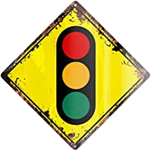 """TRAFFIC SIGNALS Traffic lights Rustic Diamond Sign Chic Vintage Retro 12""""x 12"""" Metal Plate Store Home man cave Decor Funny Gift"""