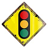 TRAFFIC SIGNALS Traffic lights Rustic Diamond Sign Chic Vintage Retro 12″x 12″ Metal Plate Store Home man cave Decor Funny Gift Review