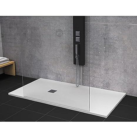Plato de ducha pizarra 80x190cm STRATO Resina Mineral con ...