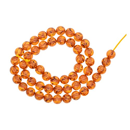 Synthetic Amber Necklace - MagiDeal Synthetic Natural Stone Honey Brown Amber Round Loose Beads 8mm For Jewelry Making Necklace Bracelet Charm Beading Craft Accessories, 53pcs/ Strand