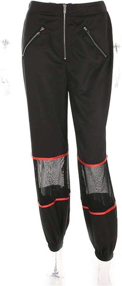 Pantalones de chándal Pantalón de malla de malla de cremallera con ...