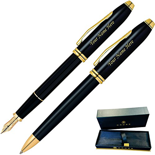 Daysping Pens | Engraved/Personalized Cross Townsend Black Lacquer Fountain and Ballpoint Pen Gift Set. Customized with name or message. 1 Day Engraving time. Gift Case (Townsend Black Lacquer Fountain Pen)