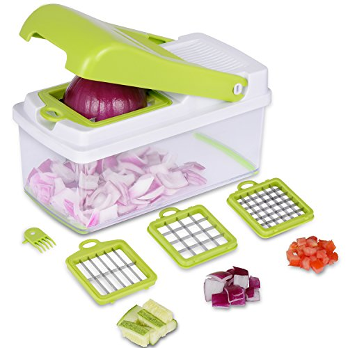 Adoric Life Vegetable Chopper,No-Mess Vegetable Fruit Dicer, Kitchen Cutter with 3 Interchangeable Blades Set & Food Container & Cleaning Brush for Onion, Vegetable and Fruit