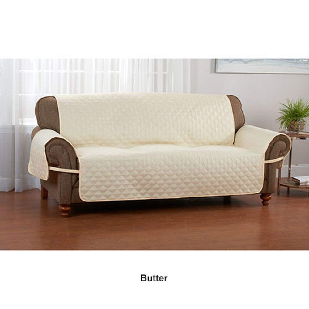 Anti-Microbial Waterproof Quilted Furniture Protector with Straps, Soft and Durable (Recliner, Butter)