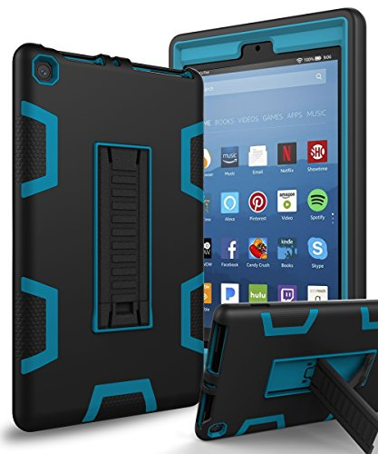 All-New Amazon Kindle Fire HD 8 (2017 7th Generation)Case,XIQI Three Layer Hybrid Rugged Heavy duty Shockproof Anti-Slip Case Cover for Fire HD 8 Tablet(2017),Black/Blue