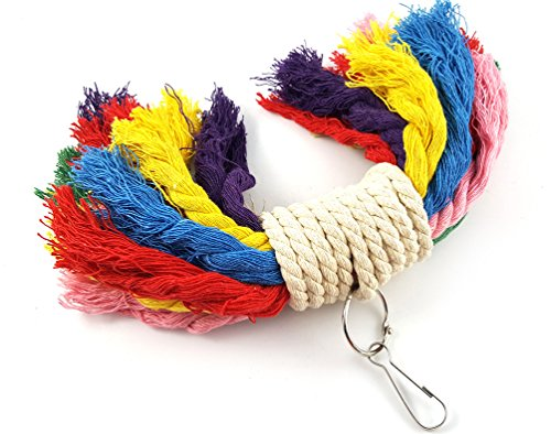Image of RYPET Parrot Colorful Rope Toy - Perfect Bird Cage Toy for Playing and Preening Fits Small to Medium Birds