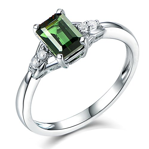 Simple Elegant Gemstone Green Tourmaline 14K White Gold Natural Diamond Promise Daily Wear Wedding Ring ()