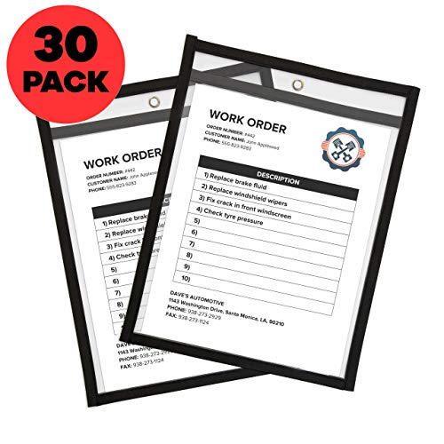 (Job Ticket Holders 9 x 12 Clear (30 Pack) - Dry Erase Pockets Black - Reusable Sleeves - Dry Erase Sheets - Write and Wipe Pockets // Bluestone Brands //)