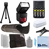 nikon 5300 flash diffuser - Pro Series Digital SLR Auto-Focus/Auto Power Zoom TTL Flash w/LCD Display + 4 AA Battery Charger + Deluxe Accessories Kit for Nikon D3000 D3100 D3200 D3300 D5000 D5100 D5200 D5500 D7000 D7100 D7200 D600 D610 D700 D800 D90 D5300 DSLR Camera