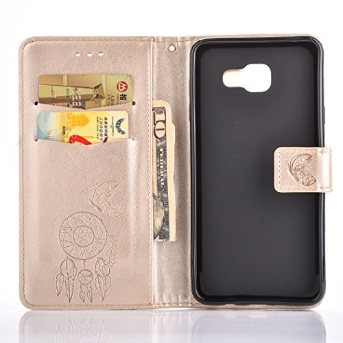 For Samsung Galaxy A7 2016 Case , Samsung Galaxy A7 2016 Cover - Cozy Hut Elegant Relief Dandelion Patterned Embossing PU Leather Case, Credit Card Holder, Cash Wallet, Built Stand, Magnetic Closure, Golden bells
