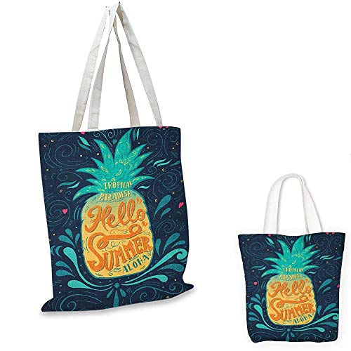 Tropical canvas shoulder bag Hello Summer Quote Pineapple with Hearts Swirls and Teardrop Shapes Background canvas lunch bag Multicolor. 15