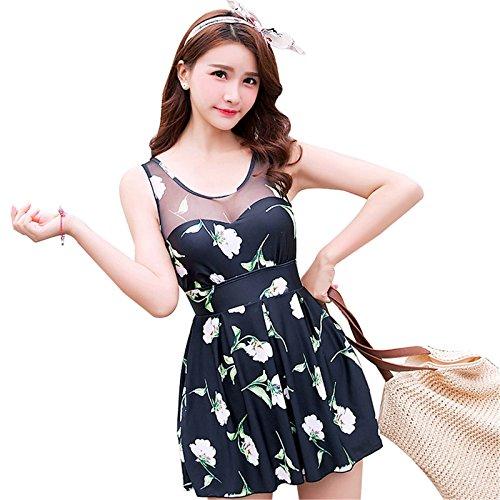 Ropa Traje De Baño De Una Pieza Para Mujer Escarpado Malla Empalmado Floral Falda Boxer Swimsuit Beach Wear Negro