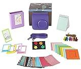 Polaroid 300 PURPLE/Fujifilm Mini 7s Camera Accessories Bundle, 9 Piece kit Set Includes: Camera Case + Strap + Photo Album + Standing Album + Wall Hanging Frames + 60 Stickers + 5 Frames, + Gift Box.