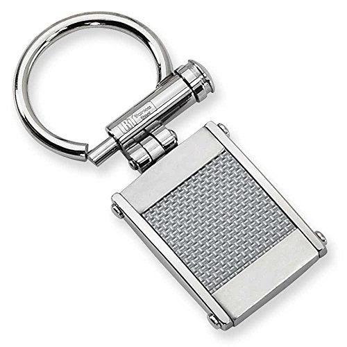 Chisel Stainless Steel Grey Carbon Fiber Key Ring SRK103 ()