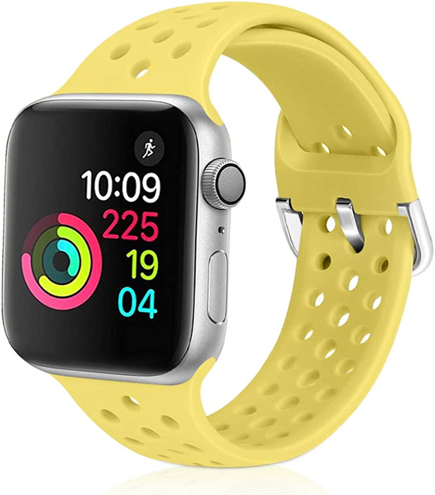 Relting Compatible with Apple Watch Band 42mm 44mm, Soft Silicone Sport Breathable Replacement Strap Compatible for iWatch Series 4, 3, 2, 1 for Women and Men (Yellow, 42mm/44mm)