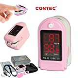 CONTEC CMS50DL Pulse Oximeter with Neck/wrist Cord, Carrying Case and Silicone, Pink