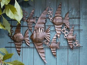 Wanddekoration Garten wanddekoration wanddeko wand objekt fisch fische wand garten veranda