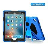 iPad Air 2 Case, iPad Kids Case, Aceguarder Shockproof Scratchproof Drop Resistance Super Protection Cover Case iPad Air 2 Tablet (Blue-Black)