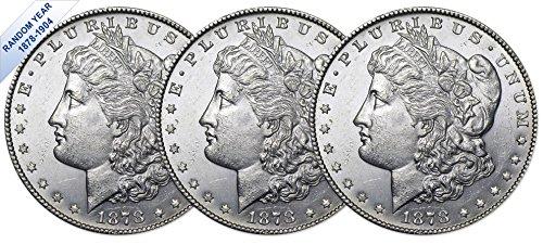 Coin Morgan Set - (1878-1904) Morgan Silver Dollar (BU) Three Coins Brilliant Uncirculated