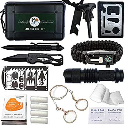 Survival Kit with First Aid - Plus Emergency Tinder, Wilderness Survival Card, and Downloadable User Guide.