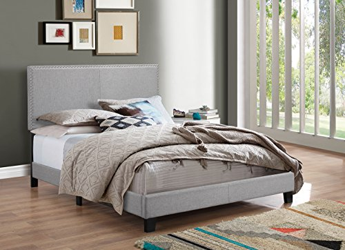 - Crown Mark Upholstered Panel Bed in Gray, with Nailhead, Queen