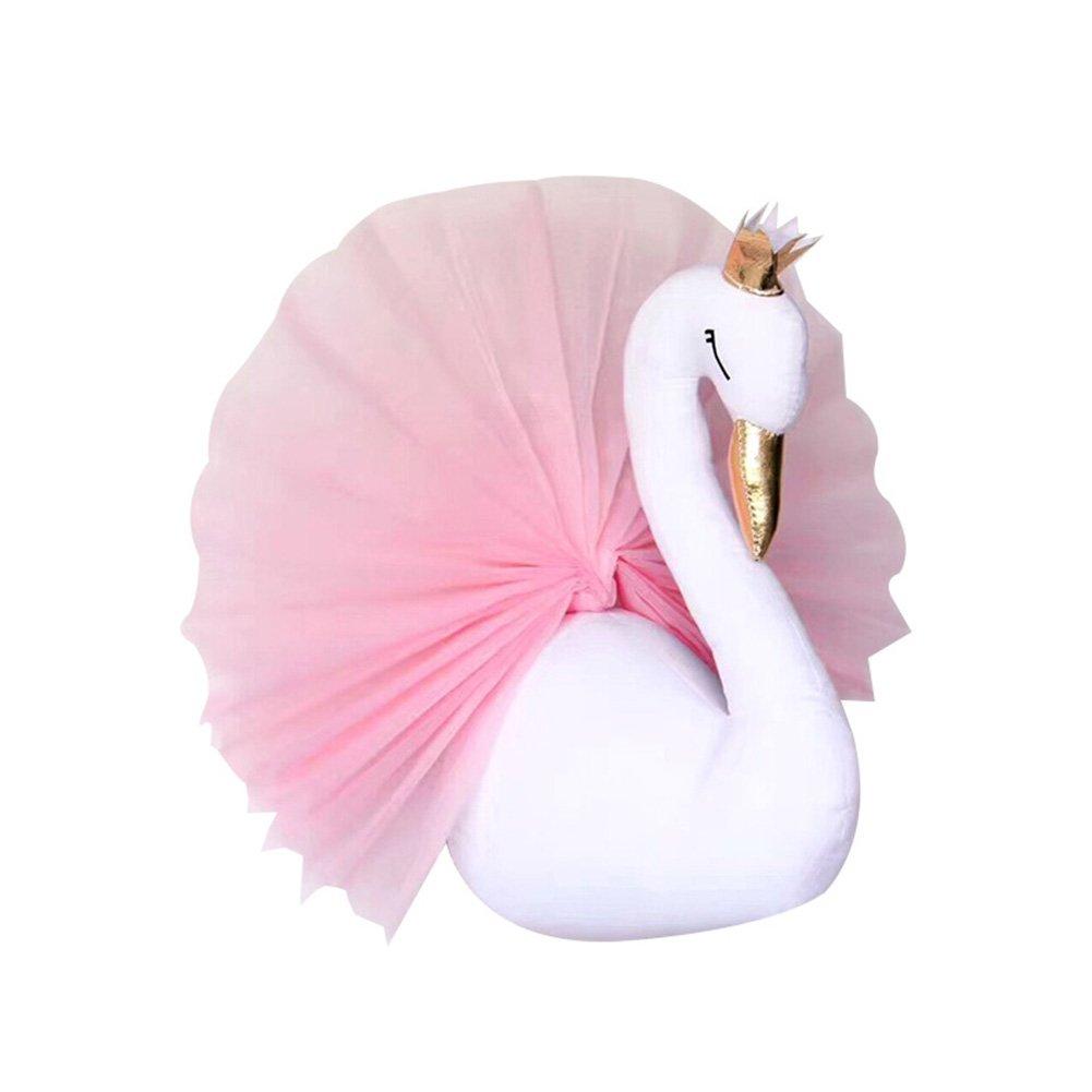 beiguoxia Lovely Crown Small Swan-shaped Gauze Dress Décoration murale décoration de chambre pour enfants