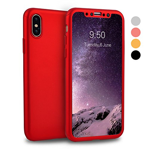 iPhone X Case, iPhone 10 Case, VANSIN 360 Full Body Protection Hard Slim Case Coated Non Slip Matte Surface with Tempered Glass Screen Protector for Apple iPhone X (2017) - Red