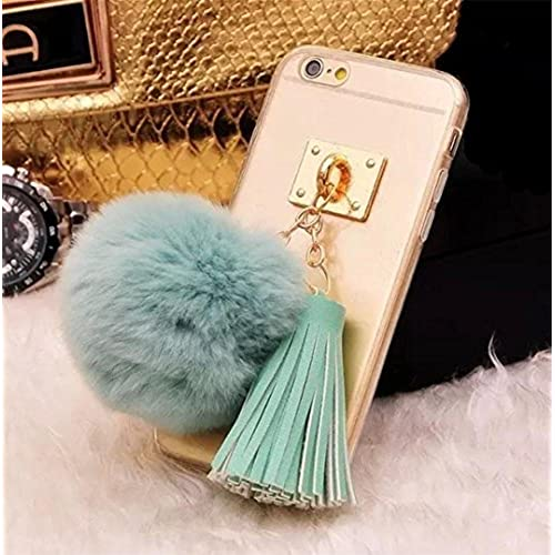 Galaxy S7 Edge Case,Fusicase Cute Rabbit Fur Hair Plush Ball With PU Leather Tassel Metal Pendant Clear Back Case Fitted For Samsung Galaxy S7 Edge(Teal) Sales
