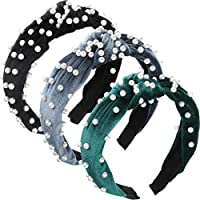 3 Pieces Pearls Headband Wide Hair Hoop Velvet Pearls Headband Vintage Twisted Headwear for Girl Woman Hair Accessories (Black, Gray, Black Green)