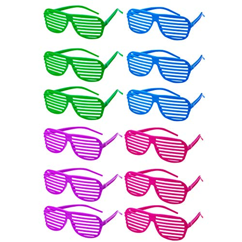 Neon Shutter Glasses - 12 Pack 80's Style Unisex No Lens Aviators in Assorted Colors - Gift, Costume Props, Party Favors, Class Rewards, Getaway Accessories for Kids and Adults Alike