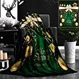 "Nalagoo Unique Custom Flannel Blankets Green Christmas Background With Golden Baubles And Christian Scene With Three Wise Men And T Super Soft Blanketry for Bed Couch, Throw Blanket 40"" x 60"""
