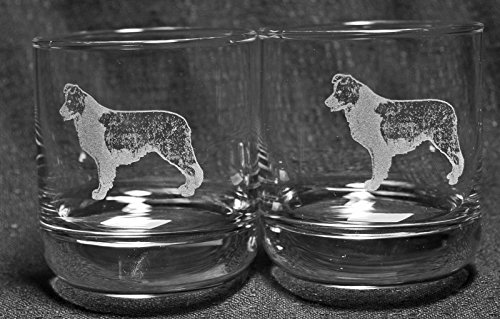 Muddy Creek Reflection Border Collie Dog Laser Etched Double Old Fashioned Whiskey Glass Set (2, DOF)