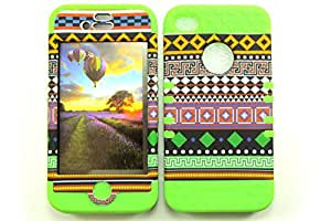 APPLE IPHONE 4 4S 4G CASE TRIBAL DESIGN GR-TE653 HEAVY DUTY HIGH IMPACT HYBRID COVER LIME GREEN SILICONE SKIN
