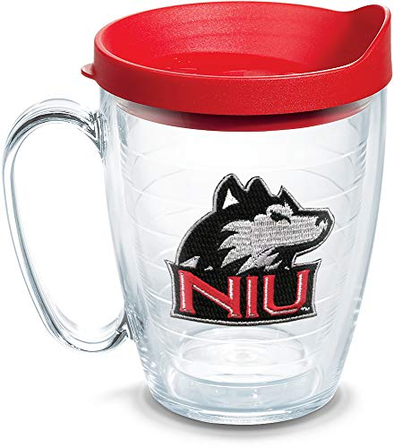 Tervis 1060814 Northern Illinois Huskies Logo Tumbler with Emblem and Red Lid 16oz Mug, Clear