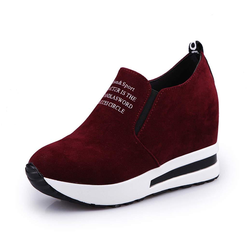 HuaMore Poids l/éger Couleur Unie Mode Femme Troupeau Occasionnel Slip-on /épais Plateforme Sport Baskets Chaussures compens/ées Un Pied