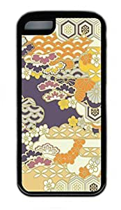 iPhone 5C Case, Personalized Protective Rubber Soft TPU Black Edge Case for iphone 5C - Flower Backgroud 02 Cover