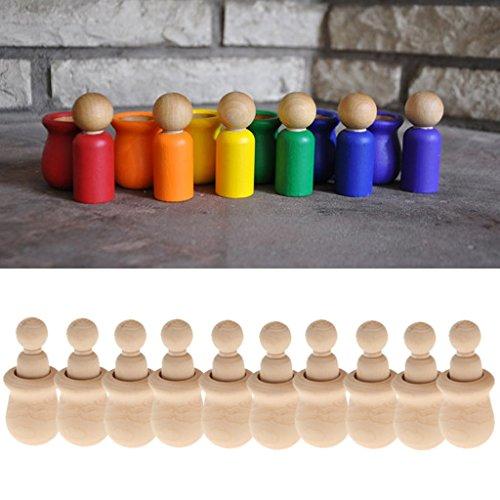 新しい10個の木製のペグの人々のセットのペグの人形の工芸品DIYのおもちゃ創造的な子供のプリントパーティーの恵みのウェディング家の装飾