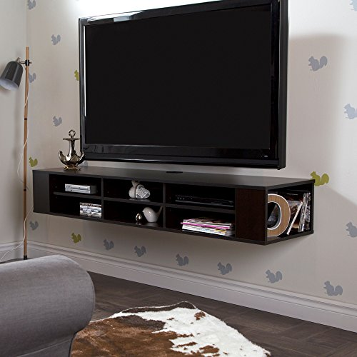 "- South Shore City Life Wall Mounted Media Console - 66"" Wide - Extra Storage - Chocolate"