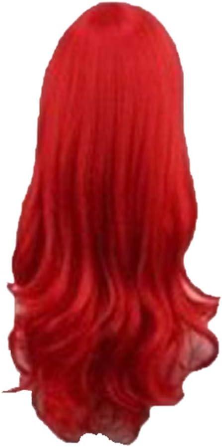 Viahwyt Perruque Ariel la Petite Sir/ène Ondul/ée Cosplay Perruque Synth/étique Longue Rouge Boucl/é Costume Perruque