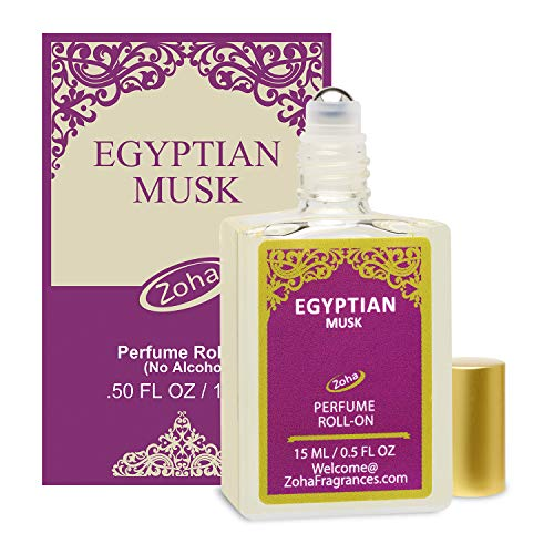 Egyptian Musk Perfume Oil Roll-On (No Alcohol) Egyptian Oil Fragrance - Essential Oils and Perfumes for Women and Men by Zoha Fragrances, 15 ml / 0.50 fl Oz