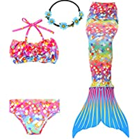 GALLDEALS 3PCS Girls' Swimsuit Mermaid Tail For Swimming...