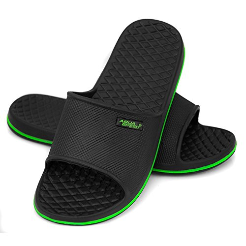 AQUA-SPEED - zapatos/flip-flop de baño negro/verde