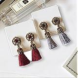 YOMYM Beautiful Elegant Bohemian Style Fashion All-match Rhinestone Pendant Earrings Long Thread Tassel Drop Dangling Earrings Ear Studs