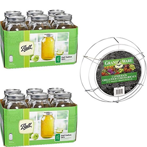 Ball 6-Count Wide Mouth 64-Ounce Jars with Lids and Bands (2 Pack) and Granite-Ware Canner Rack, 1.0 CT