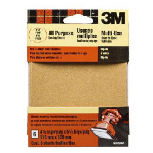 3M 9211NA 4.5-Inch x 4.5-Inch Adhesive Backed Palm Sander Sheets, Coarse Grit, 5-pack