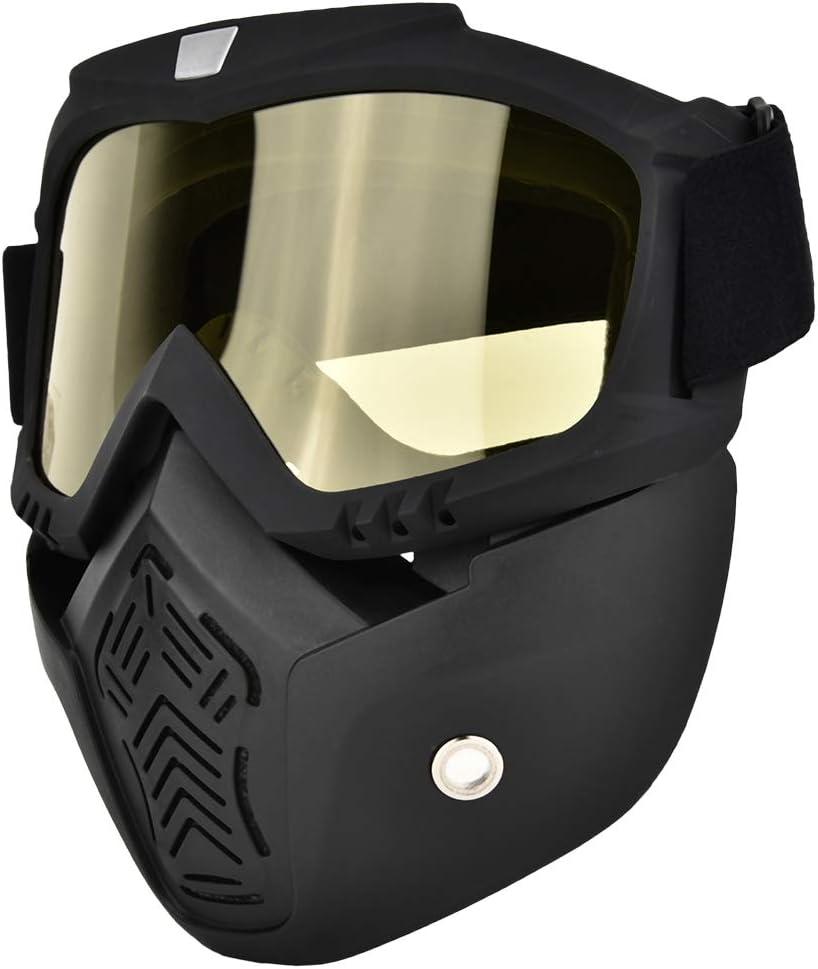 Gafas/Máscaras Mascarilla facial antibalas, antivaho, resistente a los rayos UV Protector de ojos para esquí, senderismo y ciclismo (Negro y amarillo)