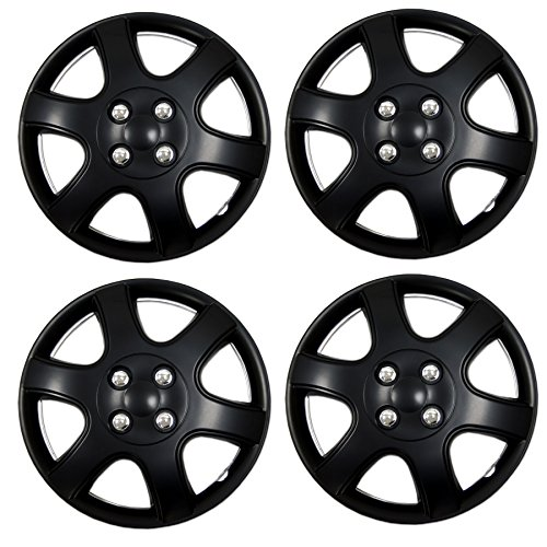 Tuningpros WC3-14-5888-B - Pack of 4 Hubcaps - 14-Inches Style 5888 Snap-On (Pop-On) Type Matte Black Wheel Covers Hub-caps